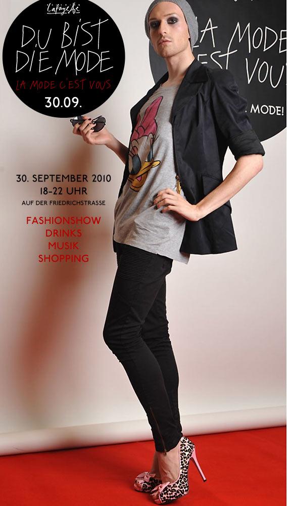 TOM ist die Mode - bei DU BIST DIE MODE! am 30.09. vor den Galeries Lafayette auf der Friedrichstraße, Berlin