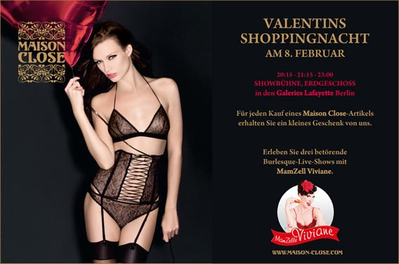 Burlesque mit Maison Close bei der Valentinsshoppingnacht in den Galeries Lafayette Berlin