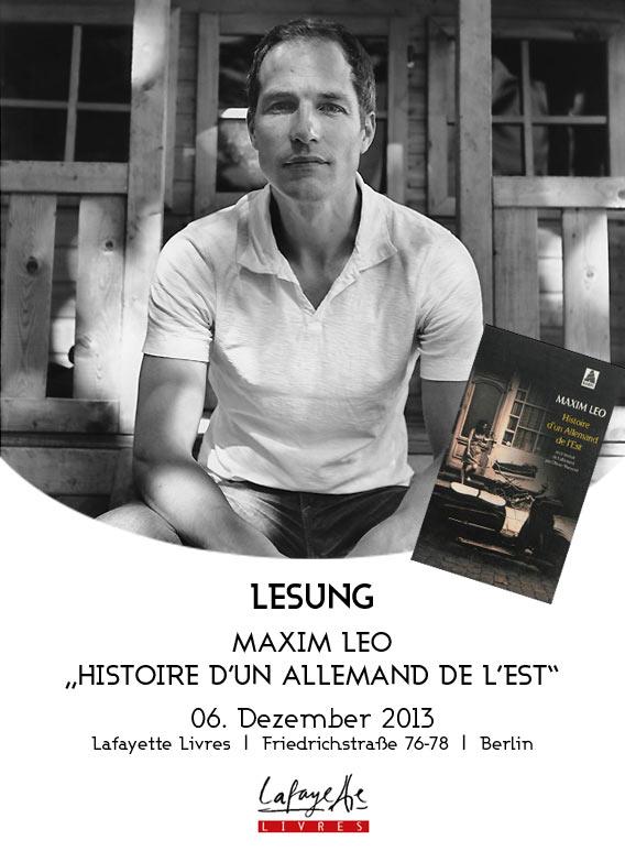 Lesung Maxim Leo | 06.12.2013 | Galeries Lafayette Berlin