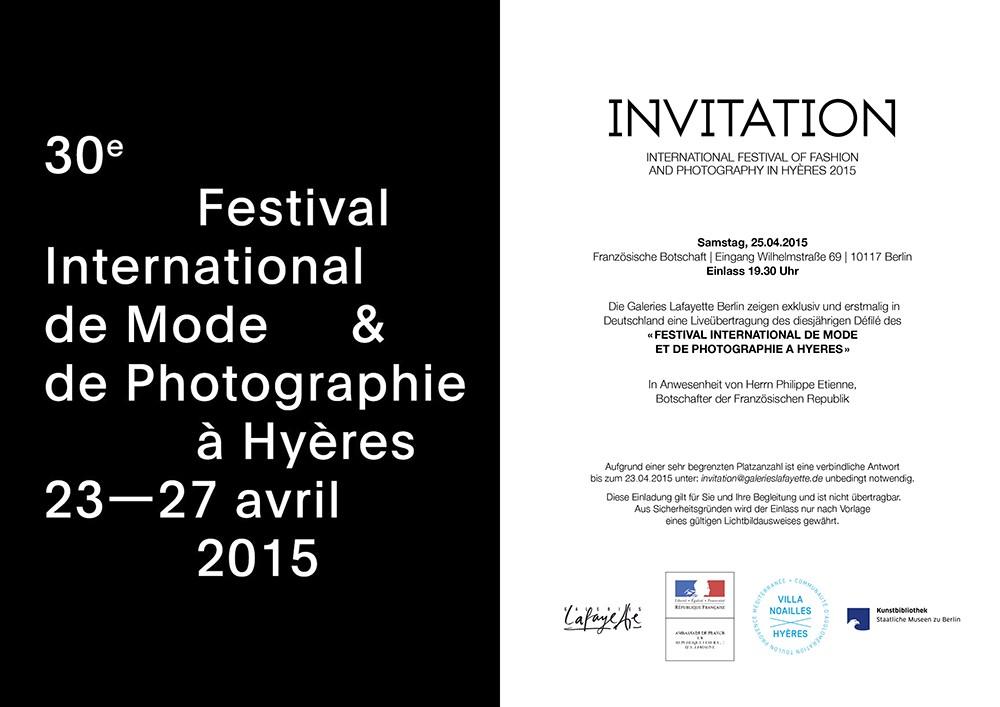 Glafayettebhyeres Invitation23042015 Galeries Lafayette Berlin